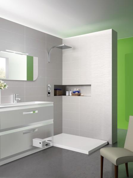 Receveur douche extra plat poser avec pompe de relevage for Douche avec receveur extra plat