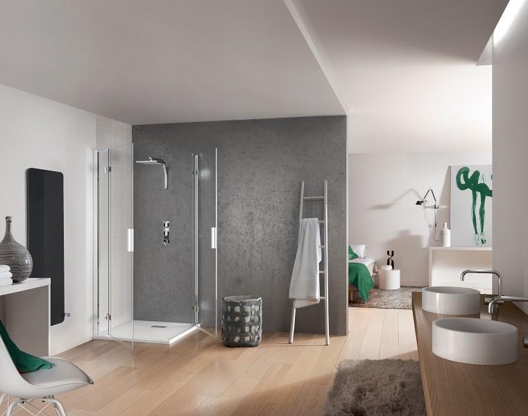 espace douche ouvert sans porte montage facile rsultat sublime kinespace - Douche Sans Porte