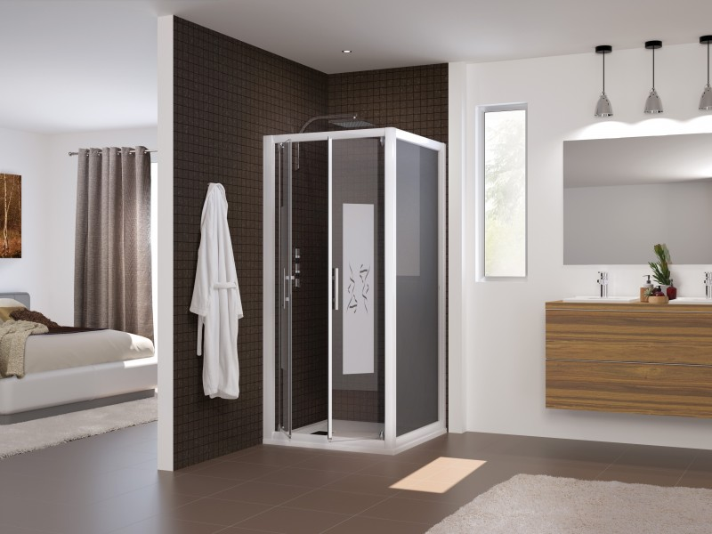 parois de douche pour porte montage angle sur. Black Bedroom Furniture Sets. Home Design Ideas